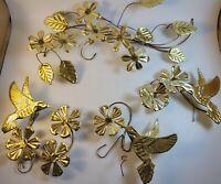 Vintage Brass Metal Hummingbirds and Flowers Wall Art Set of 4 MCM