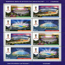 Coupe du Monde de Football 2018 Stades Feuille Timbre World Cup Stamp Sheet