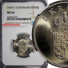 Denmark Frederik IX 1969 CS 1 Krone NGC MS66 GEM BU TOP GRADED BY NGC KM# 851.1