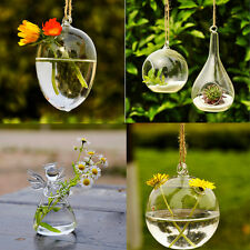 Hole Glass Angel Shape Flower Plant Stand Hanging Vase Office Wedding Decor