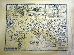 1970s Replica of 17th Century County map of Glamorgan by John Spede