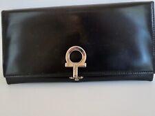 SALVATORE FERRAGAMO Smooth Black Leather Continental WALLET Checkbook/ Credit