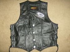 New 6th Gear Black Eagle Leather Vest - Size M