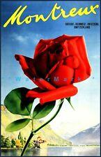 Montreux Switzerland 1950 Jazz Festival Vintage Poster Print Retro Rose Art