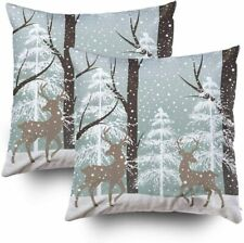 Christmas Decorative Cotton Square Set of 2 Pillow Case Covers with Zippered