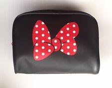 New Disney Minnie Mouse Red White Polka Dot Black Toiletries Bag Makeup Case