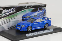 2002 Brians Nissan Skyline GT-R blue blau Fast & and Furious 1:43 Greenlight