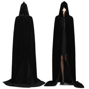 Medieval Vampire Velvet Hooded Cloak Long Robe Witch Capes Halloween Costume