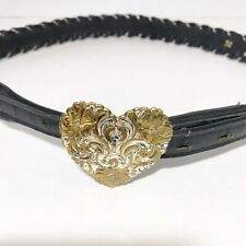 Vintage Acme Black Leather Woven Belt Crumrine Silver Plate Heart Buckle 32 M