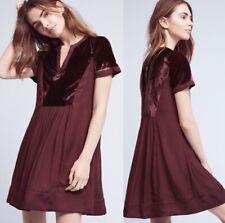 Anthropologie Maeve Women's Small Ingrid Velvet Dress Burgundy $138