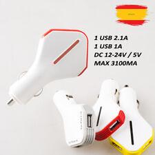 CARGADOR COCHE DOBLE USB MECHERO  PARA SMARTPHONES MOVILES GPS TABLETAS 3.1A