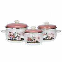 6 Pcs Marmites Émaillé Set Batterie Cuisine Casseroles Pots Blanc Fleurs Neuf