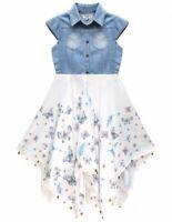 Girl Kid Party Sleeveless Denim Top Floral Print Hanky Summer Party Skatr Dress
