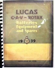 1939  LUCAS C-A-V -- ROTAX batteries  Equipment And Spares Catalogue no 400B FSH