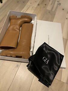 Gia Borghini x Pernille Teisbaek Perni 07 Tubular Boots in Cognac, sz 38.5