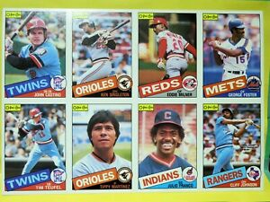 1985 O-Pee-Chee Canada, 8-Card Baseball Uncut Sheet, Singleton, Foster, Franco