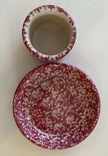 """Workshops Gerald Henn Pottery Red & White Spongeware 7"""" Dish, 3.5"""" Butter Dish"""