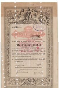 AUSTRIA 1868 100 GULDEN BOND-