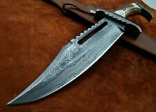 1-OF-A KIND CUSTOM MADE DAMASCUS STEEL STAG HORN RAMBO HUNTING BOWIE WITH SHEATH