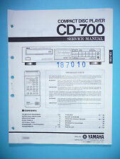 INSTRUCCIONES MANUAL DE SERVICIO PARA YAMAHA cd-700, original