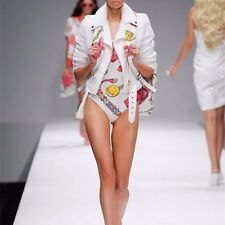 MOSCHINO COUTURE Pink & White One Piece Swim suit Bikini UK10 IT42 US8 BNWT
