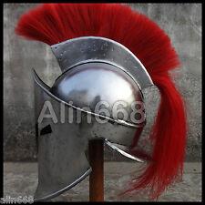 Medieval KING LEONIDAS SPARTAN 300 HELMET Red Plum With Inner Liner Chin strap