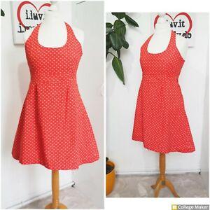 Vintage 90s Red & Cream Polka dot Halter neck Sun  Dress Size 12