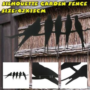 Birds On Wire Wall Fence Art Metal Silhouette Garden Home Decoration Panel  New