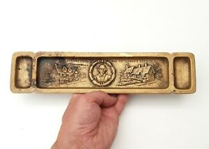 Antique Brass Pen & Stamp Desk Tidy Stand - Shakespeares House-  With RD Number