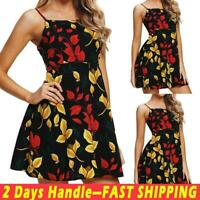 Women's Floral Sleeveless Sundress Ladies Summer Beach Sling Mini Dress Dresses