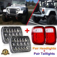 7x6 LED Headlights Hi Lo Beam & Tail Reverse Lights for Jeep Wrangler YJ 87-95