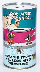 Pennies & Pounds - Large 17.5cm Savings Tin Money Box Jar Fund Holds upto £1000