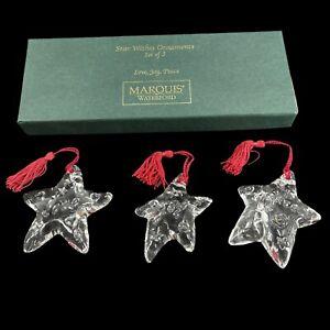 Waterford Marquis Crystal Star WIshes Ornaments Set Christmas Peace Joy Love NIB