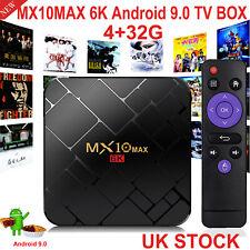 MX10 MAX Android 9.0 OS 4GB+32GB 6K UHD Quad Core TV BOX WIFI HDMI2.0 3D View UK