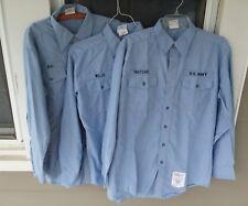 MS DSCP Quarterdeck US Navy Blue Shirts Long Sleeve  Blue Size L 36SL LOT OF 3