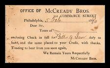 DR JIM STAMPS US MCCREADY BROTHERS PHILADELPHIA POSTAL CARD FANCY CANCEL
