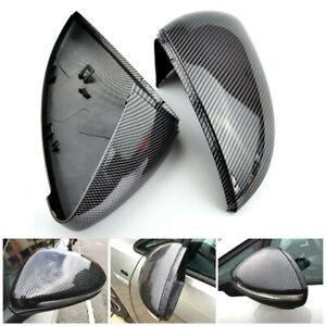 Full Mirror Caps Carbon Fibre Covers Volkswagen VW Golf MK7 Mk7.5 TSI TDI GTI R