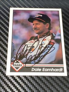 Dale Earnhardt signed card 1992 TRAKS #190 WINSTON CUP NASCAR HALL OF FAMER JSA