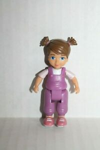 """Dollhouse 3"""" Child Toddler Girl Sister Doll Figure in Purple Overalls"""
