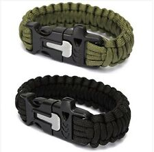 Paracord Parachute Cord starter fire Kit Survival Bracelet Rope Buckle Compass