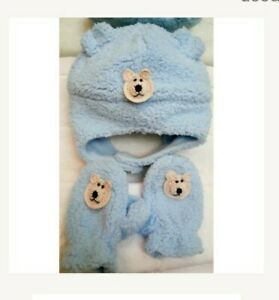 NEW BABY BLUE FLEECE HAT MITTENS SET w/ BEAR DOG 3 6 9 12 18 MONTHS BOYS INFANT