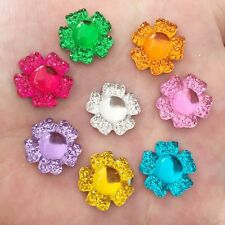 Mix 20PC 16mm flower Resin Flatback Rhinestone For DIY craft scrapbook for phone