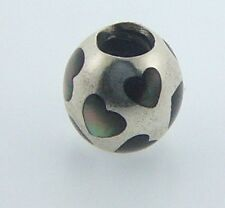 790398MPB PANDORA STERLING SILVER LOVE ME BLACK MOTHER OF PEARL RETIRED RARE