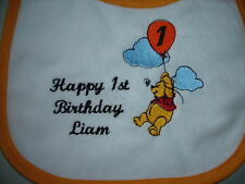 happy first  birthday winnie the pooh  baby bibs