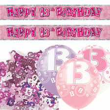Pink Silver Girl Glitz 13th Birthday Banner Party Decoration Pack Kit Set