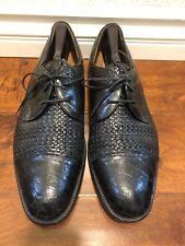 Mezlan Gables Genuine Crocodile Monk Strap Men Black Leather Oxford Shoe Size13M