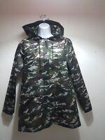 zara womens Raincoat camouflage print  hoodie trench size S