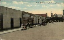Juarez Mexico Calle del Comercio c1910 Postcard