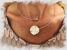 Silberreif Halskette Halsreif offen mit Blüte & Perle - Silber 925 - 45 cm
