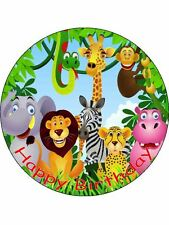 "7.5"" Jungle Animals Personalised Edible Premium Rice Paper Cake Topper"